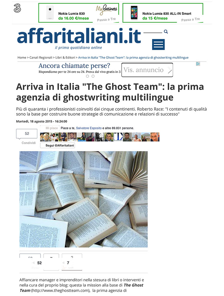 Arriva in Italia The Ghost Team: la prima agenzia di ghostwriting multilingue