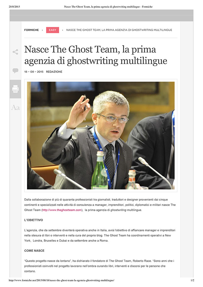 Nasce The Ghost Team, la prima agenzia di ghostwriting multilingue