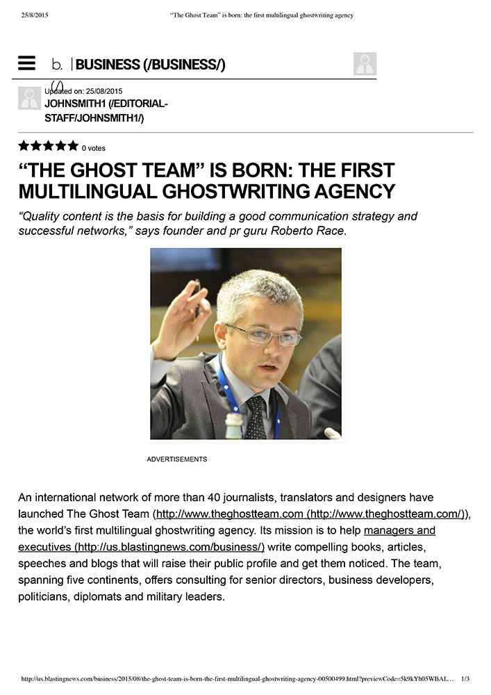 The Ghost Team is born: The First Multilingual Ghostwriting Agency