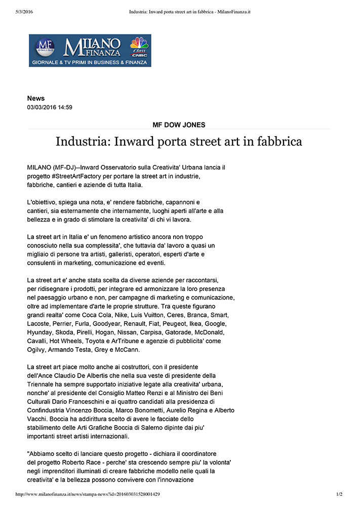 Industria: Inward porta street art in fabbrica