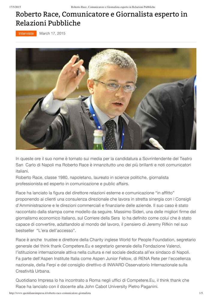 Roberto Race: Comunicatore e Giornalista esperto in Relazioni Pubbliche