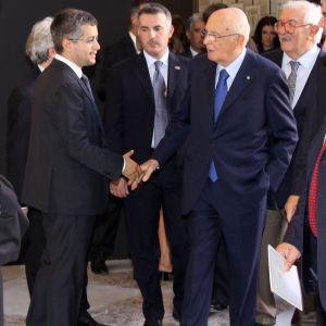 Il Presidente Napolitano e Roberto Race nel saluto ufficiale