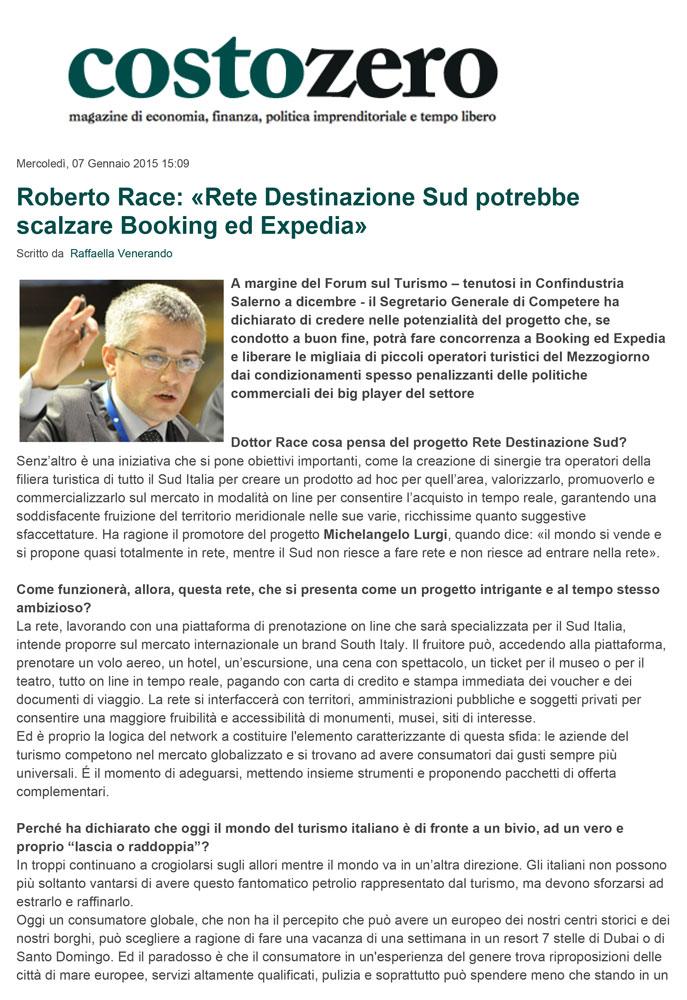 Roberto Race: Rete Destinazione Sud potrebbe scalzare Booking ed Expedia